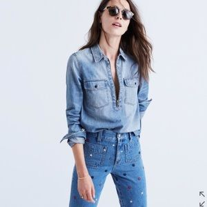 Madewell | Blouse Denim Zip Front Popover XS